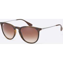Ray-Ban - Okulary Erika. Szare okulary przeciwsłoneczne męskie aviatory marki Ray-Ban, z materiału. Za 479,90 zł.
