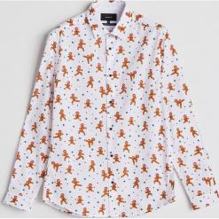 Koszula z motywem świątecznym - Kremowy. Białe koszule męskie marki INESIS, m, z bawełny, z długim rękawem. Za 59,99 zł.