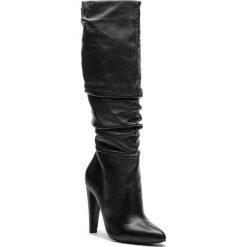 Kozaki STEVE MADDEN - Carrie Boot SM11000130-03001-017 Black Leather. Czarne buty zimowe damskie Steve Madden, z materiału, przed kolano, na wysokim obcasie, na obcasie. Za 749,00 zł.