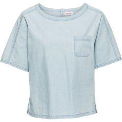 Bluzki, topy, tuniki: Tunika dżinsowa z krótkim rękawem bonprix jasnoniebieski