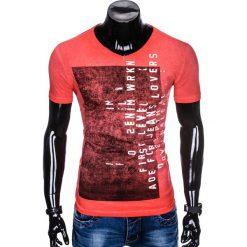 T-SHIRT MĘSKI Z NADRUKIEM S891 - CZERWONY. Czerwone t-shirty męskie z nadrukiem Ombre Clothing, m. Za 39,00 zł.
