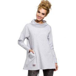 EVE Bluza oversize z kominem i kieszenią - popielata. Szare bluzy damskie Moe, s, z bawełny. Za 129,99 zł.
