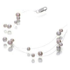 Naszyjniki damskie: Srebrny naszyjnik z perłami – (D)39 cm