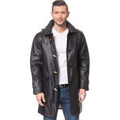 Płaszcze przejściowe męskie: Skórzany płaszcz w kolorze czarnym
