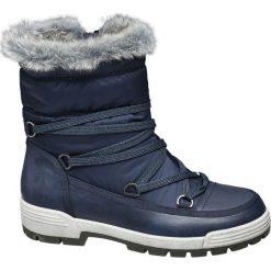 Śniegowce damskie Cortina niebieskie. Niebieskie buty zimowe damskie marki Cortina, z materiału. Za 139,90 zł.