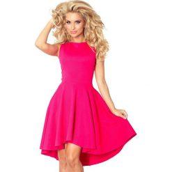 Sukienki: Malinowa Sukienka bez Rękawów z Rozkloszowanym Asymetrycznym Dołem