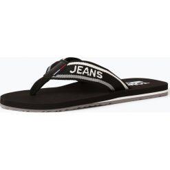 Sandały męskie skórzane: Tommy Jeans - Męskie sandały w stylu japonek z dodatkiem skóry, czarny