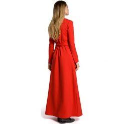 VANDA Sukienka maksi z rozcięciem - czerwona. Czerwone sukienki dresowe Moe, z długim rękawem. Za 179,90 zł.