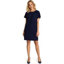 Granatowa Sukienka z Krótkim Reglanowym Rękawem. Niebieskie sukienki koktajlowe marki Molly.pl, na co dzień, l, z krótkim rękawem, mini, oversize. Za 112,90 zł.
