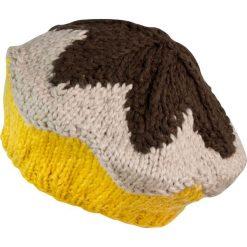 Czapka-beret damska ciepła z gwiazdką brązowo żółta. Brązowe czapki zimowe damskie Art of Polo. Za 49,91 zł.