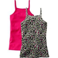Top (2 szt.) bonprix leo + ciemnoróżowy. Czerwone bluzki dziewczęce marki COCCODRILLO, na lato, w kolorowe wzory, z bawełny, z falbankami, z krótkim rękawem. Za 25,98 zł.