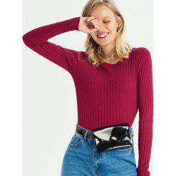 Dopasowany sweter w prążki - Fioletowy. Fioletowe swetry klasyczne damskie marki DOMYOS, l, z bawełny. Za 39,99 zł.