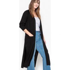 Swetry damskie: Długi sweter rozpinany z rozcięciami po bokach