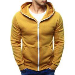 Bluzy męskie: Bluza męska rozpinana z kapturem kamelowa (bx2081)