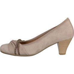 Buty ślubne damskie: Skórzane czółenka w kolorze szarobrązowym