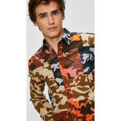 Diesel - Koszula. Brązowe koszule męskie na spinki marki Diesel, m, z bawełny, z klasycznym kołnierzykiem, z długim rękawem. W wyprzedaży za 499,90 zł.
