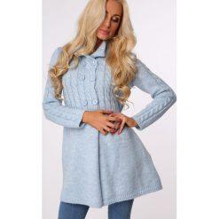 Swetry rozpinane damskie: Sweter zapinany na guziki niebieski MISC005