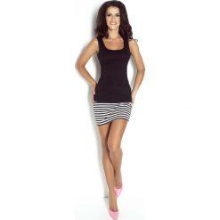 Spódnice wieczorowe: Biało Czarna Dopasowana Spódnica Mini w Paski