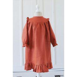 Sukienka z kieszeniami i falbanką/ceglasty. Czerwone sukienki dziewczęce z falbanami marki Pakamera. Za 179,00 zł.