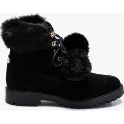 Guess Jeans - Botki. Czarne buty zimowe damskie Guess Jeans, z jeansu, na obcasie, na sznurówki. Za 699,90 zł.