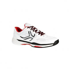 Buty tenisowe TS990 męskie na twardą nawierzchnię. Białe buty do tenisa męskie marki ARTENGO, z gumy. Za 199,99 zł.