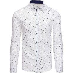 Koszule męskie na spinki: Biała koszula męska we wzory z długim rękawem (dx1436)