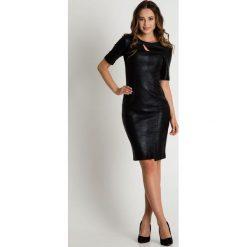 Oryginalna czarna sukienka z krótkim rękawem  BIALCON. Czarne sukienki koktajlowe marki BIALCON, ze skóry, z krótkim rękawem, mini. W wyprzedaży za 114,00 zł.