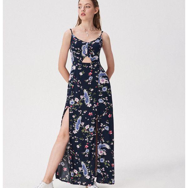 ec35d3f07100da Długa sukienka w kwiaty - Wielobarwny - Szare sukienki damskie Sinsay, s, w  kwiaty, bez kołnierzyka, z długim rękawem, długie, maxi.