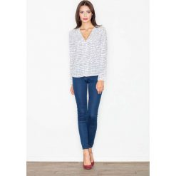 Bluzka z Dekoltem w Szpic z Printem -Wzór 25. Czerwone bluzki koszulowe marki Molly.pl, l, z jeansu, biznesowe, z długim rękawem. Za 119,90 zł.