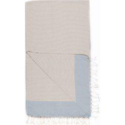 Kąpielówki męskie: Chusta hammam w kolorze beżowo-błękitnym – 180 x 100 cm