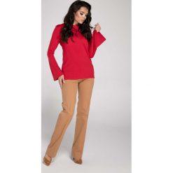 Bluzki damskie: Czerwona Elegancka Bluzka z Rozkloszowanym Rękawem