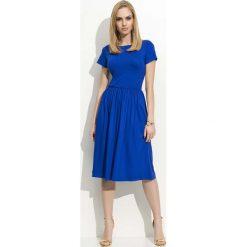 Odzież damska: Chabrowa Sukienka Klasyczna Rozkloszowana z Krótkim Rękawem
