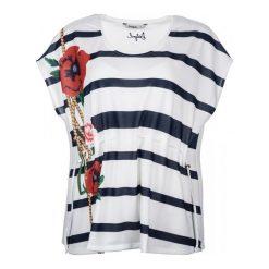 Desigual T-Shirt Damski M Biały. Brązowe t-shirty damskie marki Desigual, w paski, z materiału. W wyprzedaży za 189,00 zł.