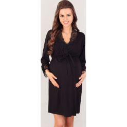 Szlafrok Nicole. Czarne szlafroki kimona damskie Astratex, w koronkowe wzory, z elastanu, moda ciążowa. Za 136,99 zł.