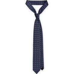 Krawat Granatowy w Kropki. Niebieskie krawaty męskie LANCERTO, w geometryczne wzory, z mikrofibry, eleganckie. Za 79,90 zł.