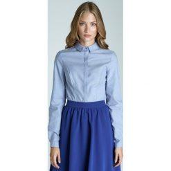 Błękitna Klasyczna Taliowana Koszula z Krytym Zapięciem. Niebieskie koszule damskie marki Molly.pl, l, eleganckie, z klasycznym kołnierzykiem, z długim rękawem. Za 106,90 zł.