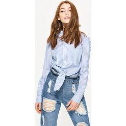 Koszule wiązane damskie: Koszula w pasy – Niebieski