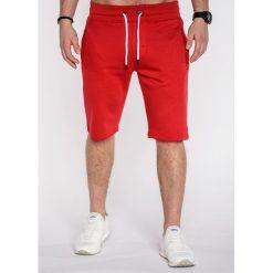KRÓTKIE SPODENKI MĘSKIE DRESOWE P512 - CZERWONE. Czerwone spodenki dresowe męskie marki Ombre Clothing. Za 39,20 zł.