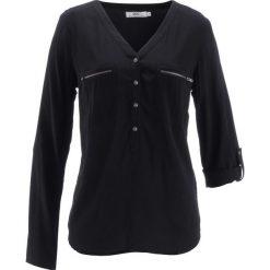 Bluzka z wiskozy, długi rękaw bonprix czarny. Czarne bluzki asymetryczne bonprix, z wiskozy, z długim rękawem. Za 74,99 zł.