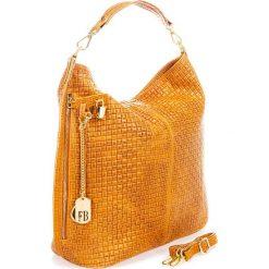 Torebki klasyczne damskie: Skórzana torebka w kolorze jasnobrązowym – 38 x 47 x 16 cm
