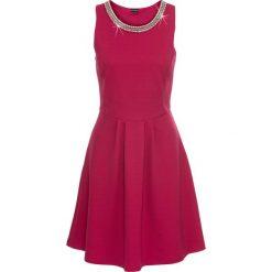 Sukienki: Sukienka z dżerseju z aplikacją z łańcuszka bonprix jeżynowo-czerwony