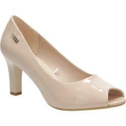 Beżowe czółenka na słupku peep toe nude lakier Sergio Leone CZ577-25L. Czarne buty ślubne damskie marki Sergio Leone. Za 88,99 zł.