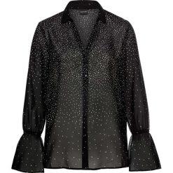 Bluzki asymetryczne: Bluzka z rękawami z falbanami bonprix czarno-biały w kropki