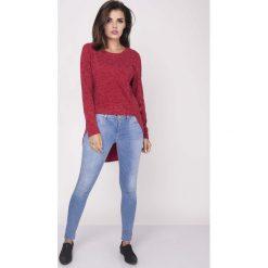 Bluzki, topy, tuniki: Czerwona Codzienna Melanżowa Bluzka Asymetryczna