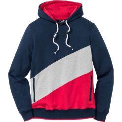 Bluzy męskie: Bluza z kapturem Regular Fit bonprix ciemnoniebiesko-jasnoszary melanż - czerwony