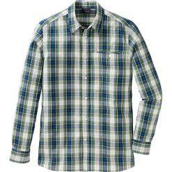 Koszula z długim rękawem Regular Fit bonprix zielono-niebiesko-biały w kratę. Białe koszule męskie marki bonprix, z klasycznym kołnierzykiem, z długim rękawem. Za 37,99 zł.