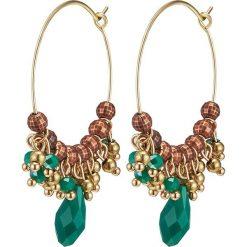 Kolczyki damskie: Pozłacane kolczyki-kreole z kryształkami