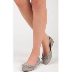 Baleriny damskie lakierowane: Szare zamszowe baleriny JEWEL