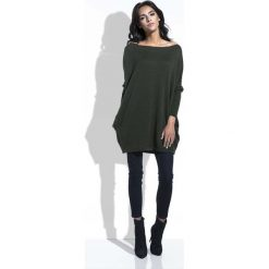 Odzież damska: Oliwkowy Długi Sweter Bombka z Kieszeniami