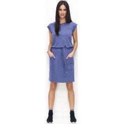 Sukienki: Granatowa Sportowa Sukienka z Kieszeniami